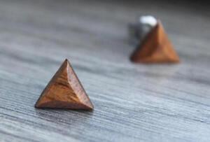 Post Earrings Titanium Wooden Koa Round Triangle Hexagon Unisex Men Women Pair
