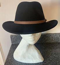 Flex Felt Hat Water Repellant Wool Black Fedora XL Extra Large Leather Hatband