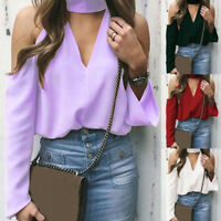 Women's Sexy Casual Off the Shoulder Long Sleeve Halter V-Neck T-shirt Blouses