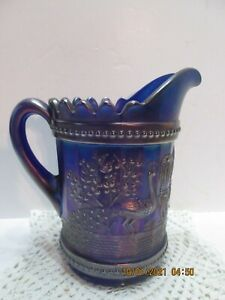 Peacock at Fountain Pitcher--Northwoods Cobalt Antique (#5-1-10-21)