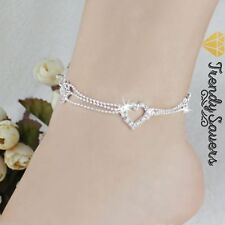 Women Crystal Sterling Silver Bead Heart Anklets Ankle Bracelet Foot Chain #13