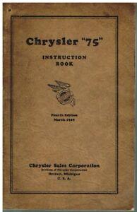 CHRYSLER 75 SALOON COUPE CONVERTIBLE ROADSTER PHAETON ORIGINAL 1929 OWNER MANUAL