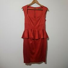 Cue Size 10 Red Satin Peplum Pencil Dress