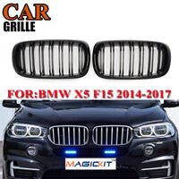 For BMW 2014-2017 F15/F16 X5 X6 Gloss Black Front Sport Double Line Grill Grille