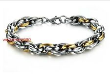 9mm8.66'' Gold Silver Stainless Steel Fashion Rope Link Chain Men's Bracelet