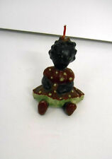 """Vintage~Collectible~Black Child/Doll in Red Polka Dot Dress~3"""" Miniature Candle"""