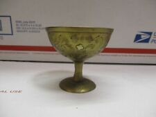 Lovely Vintage Small Etched Numbered Indian Brass Pedestal Antique
