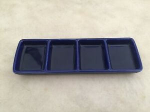 Crate & Barrel 4 Part Divided Dipping Condiment Plate Cobalt Blue Ceramic