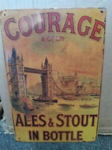 COURAGE ALES/ TOWER BRIDGE LONDON , VINTAGE-STYLE METAL WALL SIGN, 30x20cm/ BEER