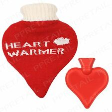 Heart Shaped Hot Water Bottle +HEART WARMER KNITTED COVER+ Xmas Gift Huggable