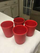 "Vintage Tuperware Red Plastic Glasses / Tumblers  3 1/2"" Tall"