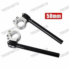 """Motorcycle CNC Clip-on Ons 7/8"""" Handlebars Black Fit 50MM Fork Tubes Universal"""