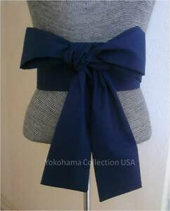 "Japanese Cotton OBI Sash Belt Kimono Yukata Wedding Navy Blue  4"" W x 110"" L"
