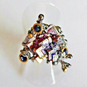 Handarbeit Wismut Bismuth Saphir Damen Ring 925 Black Rhodium Gold 17,8 mm 56