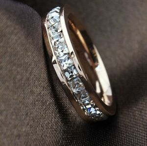 Valentine's Day  Genuine Rose Gold 9 ct simulated diamond Ring size 8