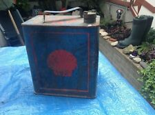 Vintage Shell Petrol Can w Pratts Brass Cap (Rare old Blue & Red one) Free p/p