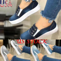 Women Flat Platform Bottom Loafers Fashion Casual Denim Slip On Shoes Sneakers