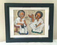 Vintage 1980 Ethiopian Painting Coffee Painting Cotton On 'Goatskin' Mama Africa