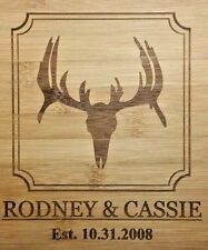 """Personalized Bamboo Cutting Board with Buck Deer Christmas Wedding Gift 13 3/4"""""""