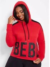 Bebe Crop Block Logo Hoodie Plus 3X Red