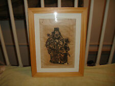 Japanese Wood Block Print On Rice Paper-Signed T. Muni-Framed