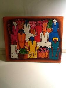 "Vintage Folk Art Painting 10"" X 8"" Women At The Market"