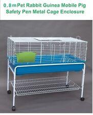 Pet Rabbit Guinea Pig Mobile Safety Pen Hutch House Metal Cage Enclosure 0.8m