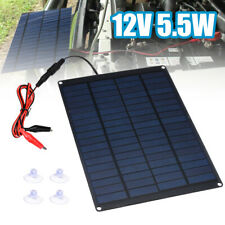 12V 5.5W Home Car Camping Boat Battery Charger Solar Panel with Battery Clip US