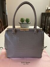 KATE SPADE Knightsbridge Croc-Embossed Constance Gray Taupe Patent Leather Bag