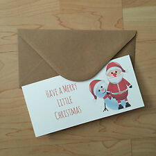Vintage/retro Christmas Money/gift Voucher Wallet santa/snowman