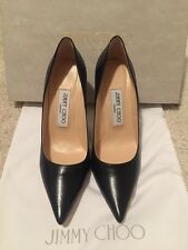 New Jimmy Choo Kid Black Leather Classic Pointed Toe Pump Shoes 35/5 New In Box