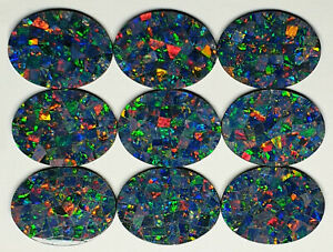 52233 - Lot of 9 Pieces Natural Australian Mosaic Opal Doublets 20x15 mm Oval