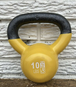 GoFit 10 lbs Coated Iron Kettlebell Weight Lifting Yellow