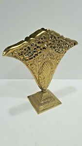 Ornate Art Nouveau Art Deco Fan Shaped Metal Vase with Square Base and Pineapple