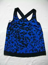 """BNWT Blue with black """"splodge"""" spotted summer strappy sleeveless vest/top SIZE 8"""