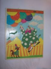 1968 Fuzzy Wuzzy Preschool Clown Frame Tray Puzzle by Whitman