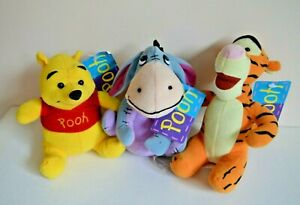 3 x Hunter Leisure Pooh Plush Toys BNWT Winnie / Tigger / Eeyore Lot Of 3 Disney