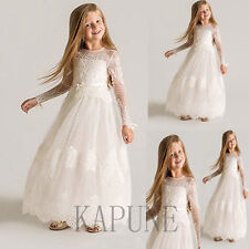 Lace Bridesmaid Wedding Flower Girl Dress Baby Princess Party Dress Full Length