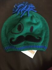 NWT Gymboree MR. MAGICIAN Green Mustache Face Sweater Hat 2t 3t