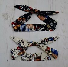 Baby Rockabilly Head Scarf Set - Day of the Dead Skeletons - Gift Bandana Skull
