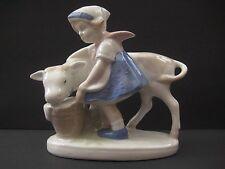 Vintage porcelain figurine, girl feeding cow, GDR figurine, made in Germany.