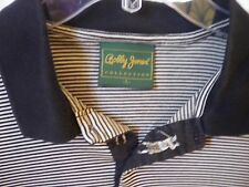 Bobby Jones Collection Men'S Polo Golf Shirt Made In Italy L Black, Tan Stripe