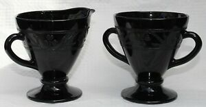 Creamer & Sugar Bowl, Perfect Condition, Unusual Black Color, Incised Decoration