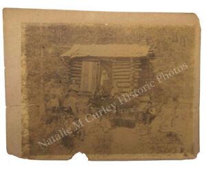 Antique 19thc Frontier Log Cabin Camp African American Labor Slavery Era Photo