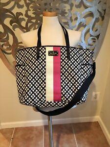 kate spade diaper bag black white Changing Pad Pink White Stripe