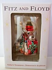 New Fitz & Floyd Deer with Gift Glass Ornaments In Box