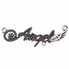 125pcs Hot Sale Antique Silvery Wings Charms Letter-Angle Connector Pendant D