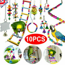More details for 10 pack parrot toys set metal rope small ladder stand budgie cockatiel cage bird