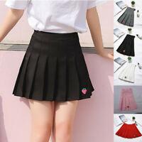Women Summer Casual Strawberry Print Pleated Stretch Elasticat Skirt Mini Skirt