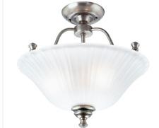 Progress Lighting Renovations 3-Light Antique Nickel Semi-flushmount Light P3607